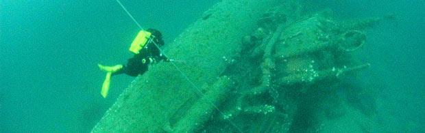 Submarine wreck off the Newquay coast